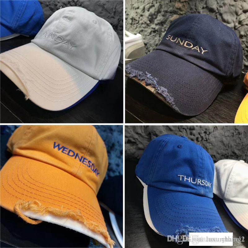 19SS Vetements Şapka Erkekler Kadınlar Kaykay Vetements Pazartesi için Pazar Beyzbol şapkası Sarı Mavi Tehlike Denim Caps Ripped