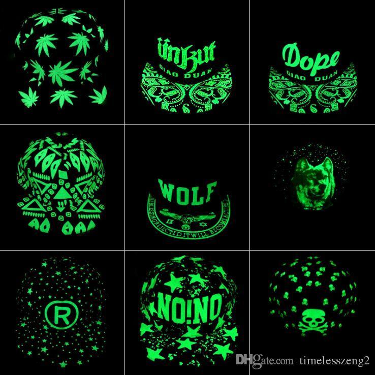 Cappelli fluorescenza berretto da baseball verde Glow scuro luminoso di Hip Hop del cappello di luce di notte delle donne alla moda Uomini Snapback