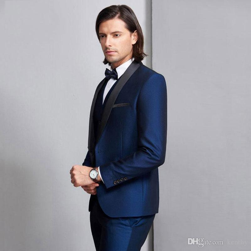 Groom Tuxedos Handsome Royal Blue Mens Suit New Fashion Groomsmen Suit Wedding Suits Best Men Slim Fit Man Jacket Vest Pants Costume Homme