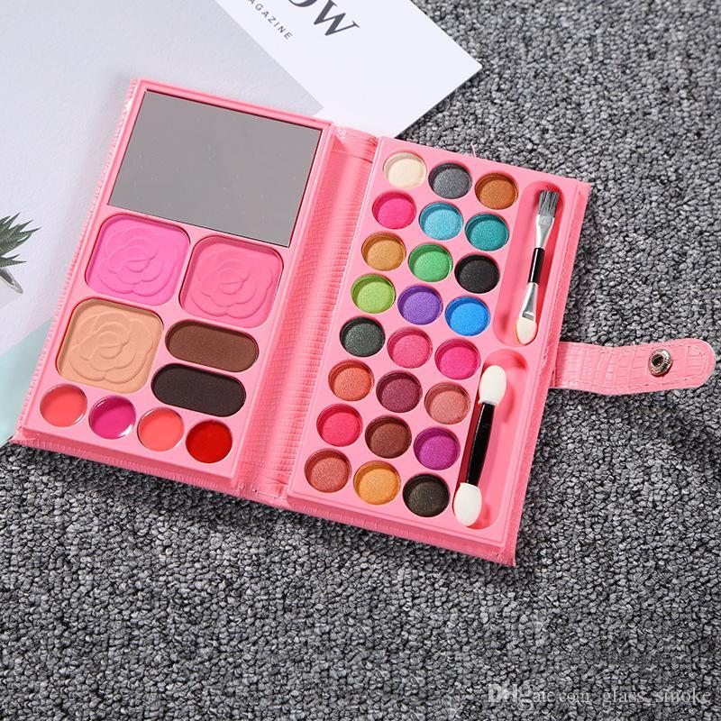 Moda Mini Carteira Eyeshadow Makeup Set portátil Espelho Eye Palette Sombra 33 Cores Professional Cosmetic Matte Nude sombra com escova