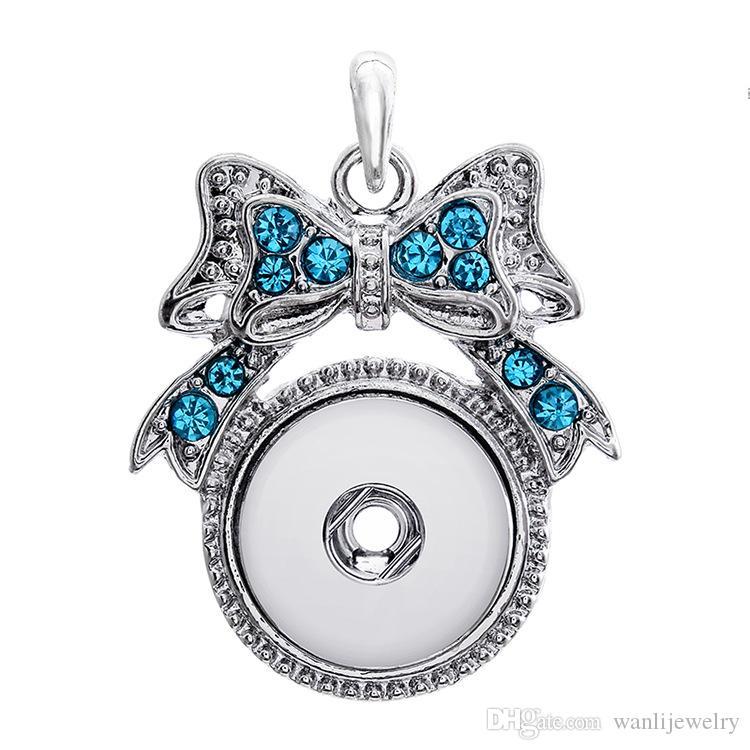 Rhinestone Snap Bijoux 18mm Snap Bouton Collier Pendentif Collier pour Femmes Colliers
