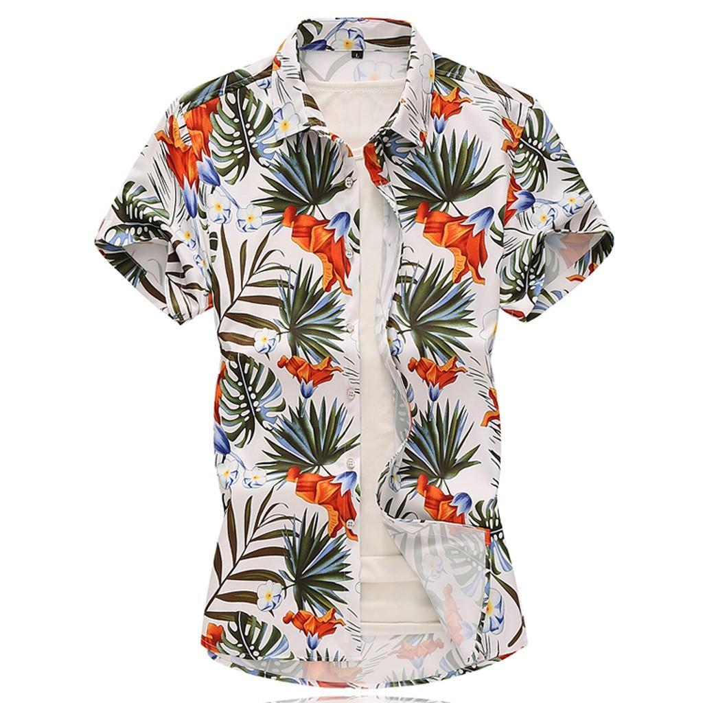 Camisa hawaiana de playa para hombre Camisa de manga corta de verano tropical Hombre Casual Algodón suelto con botones, más el tamaño