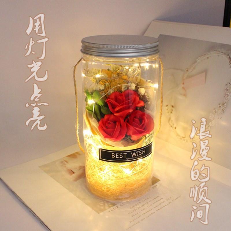 Rose gefälschte Blumenseife Blumen Heu LED Bouquet Vase für Weihnachten Graduierung Geburtstag Valentinstag Geschenk nach Hause zu