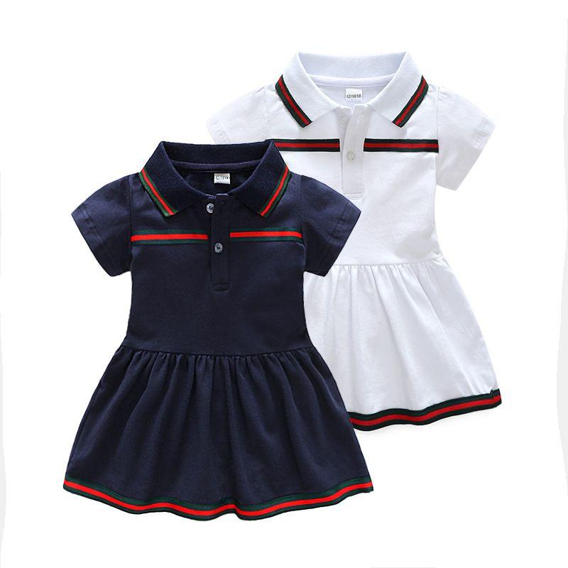 الصيف الطفل بنات أنيقة فستان قصير الأكمام بدوره إلى أسفل طوق تصميم ذات جودة عالية للأطفال 100٪ الرضع القطن الطفل الملابس ثوب