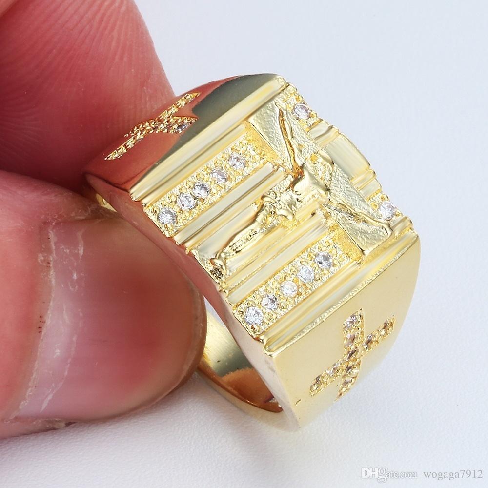 al por mayor anillo de la promesa de compromiso del anillo de las mujeres 14K oro amarillo de plata topacio blanco Cruz boda de la manera de los hombres JewelryJesus