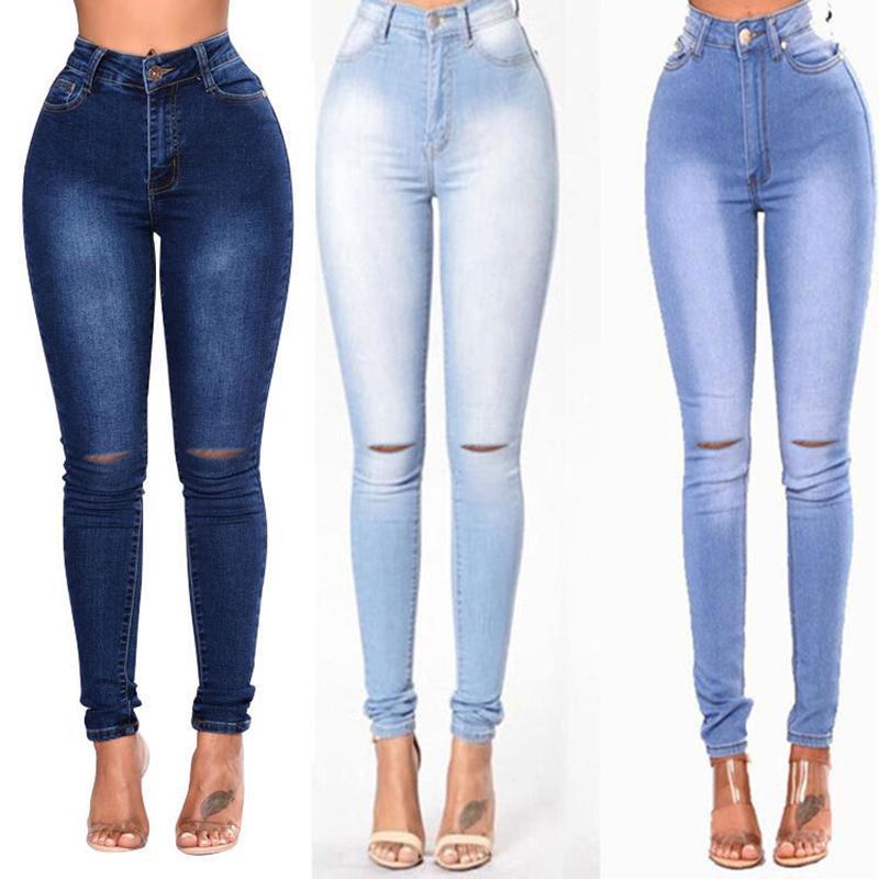 Классический Stretch Boyfriend джинсы для женщин Тощий отверстие джинсовые брюки 5 цветов Женский Тонкий с низкой талией карандаш брюки джинсовые брюки