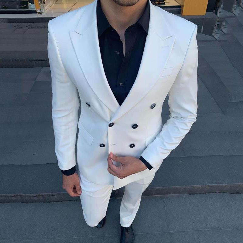 Мужчины деловых костюмов Белого пальто Брюки жених Свадебный Tuxedo 2piece Люди Blazer Terno островерхого отворот Мужчина для костюма Homme Марьяжа