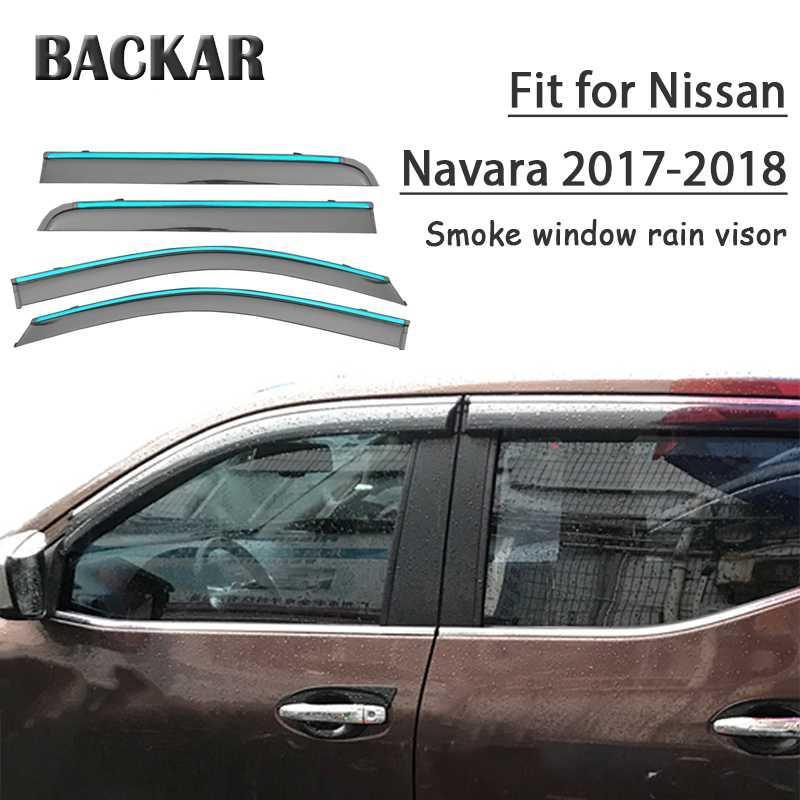Backar 4adet Oto Araç Windows Yağmur Rüzgar Güneşlik Deflektör Siperlik Trim İçin Nissan Navara 2017 2018 Aksesuar Tüm Hava