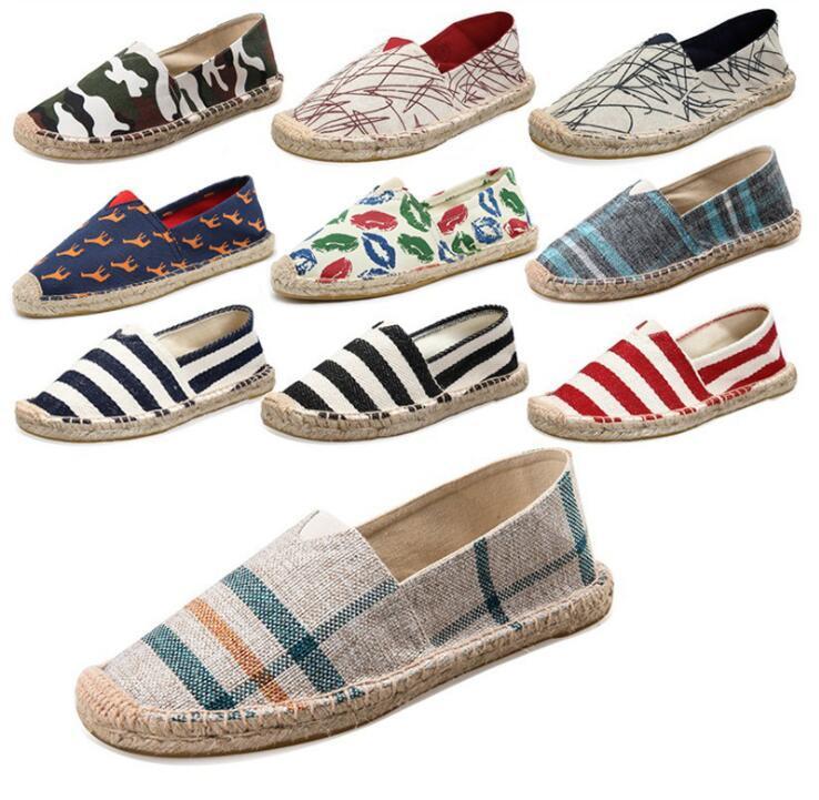 2019 Chaussures de pêcheur chaussures simples Printemps été Mocassins chanvre toile Chaussures de sport respirant Flats homme Souliers simple Espadrilles