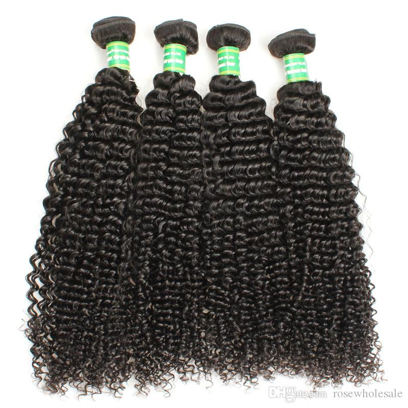 Kinky Curly Wave Virgin Human Hair Wefts 3 Bundles Brazilian Malaysian Remy Human Hair Extension Tissage Cuticle Aligned 8-28 Inches Black