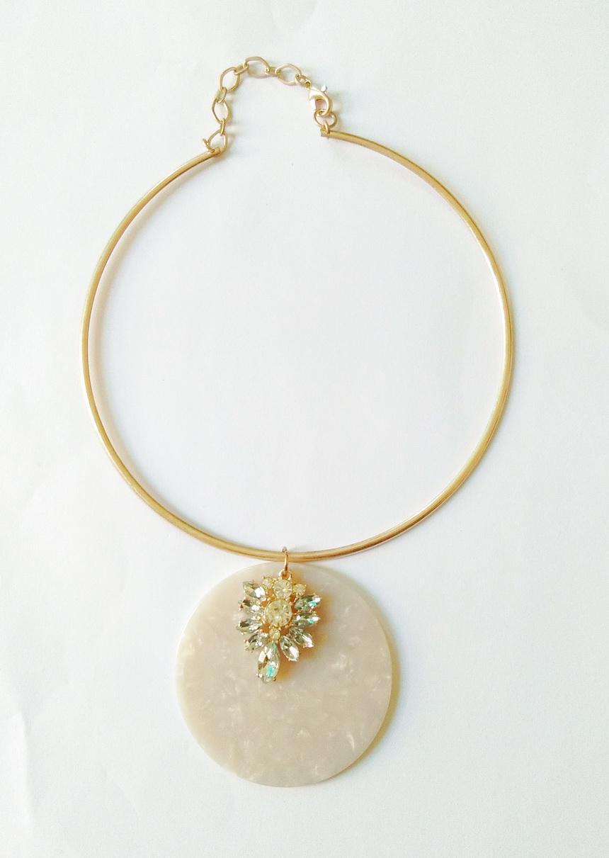 New Opal Cercle résine avec Cristal Cluster Collier Pierres Métal Verre d'or Porté Choker pour les femmes Daily Bijoux cadeau