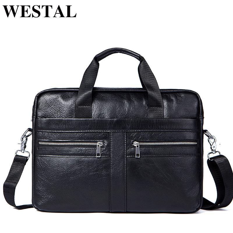 Westal Men's Bags Genuine Leather Crossbody Male Messenger Bag Men's Shoulder Bag Business Briefcase Computer Men Bags Totes Y19051502