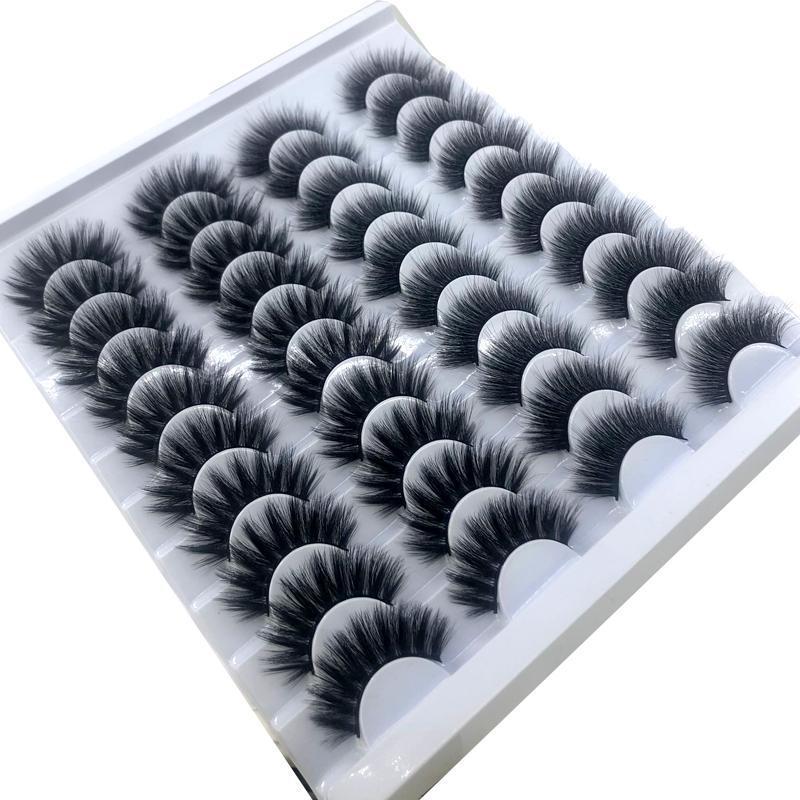 20 쌍 8-25mm 가짜 속눈썹 100 % 밍크 속눈썹 밍크 속눈썹 자연 극적인 볼륨 속눈썹 연장 속눈썹