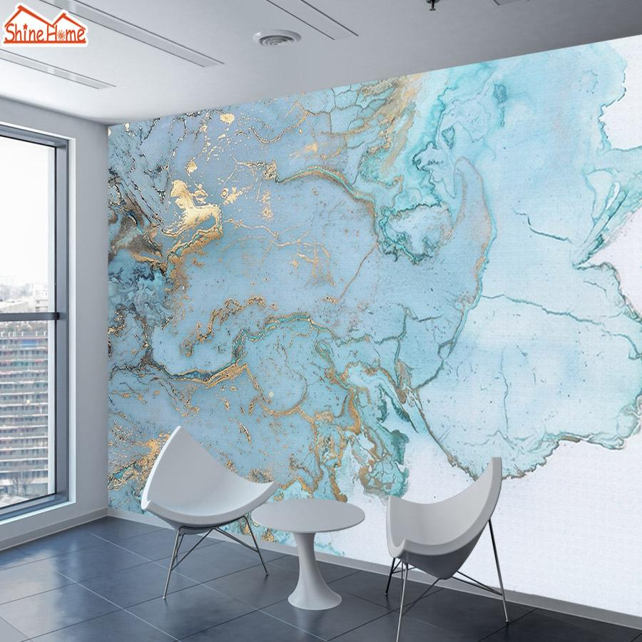 قرميد الرخام نمط خلفيات 3d الجداريات لغرفة المعيشة ورق الحائط ديكور المنزل الذهب الأزرق جدارية رولز خلفيات التلفزيون خلفية