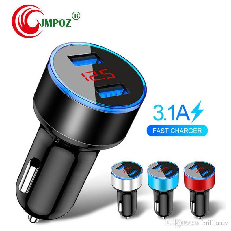 Car Charger 5V 3.1A With LED Digital Display Universal Dual Usb Phone Car-Charger for Samsung For iPhone 12-24V Cigarette Socket Lighter