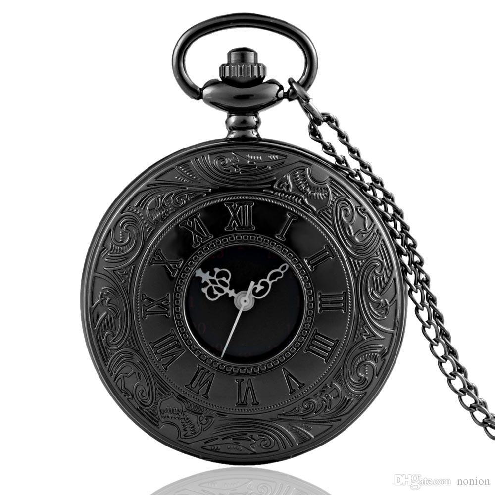 Retro Bronze Relógio De Bolso Do Vintage Cadeia Colar Pingente Preto Antigo Steampunk Mens Relógios De Bolso De Quartzo Relogio De Bolso Novo