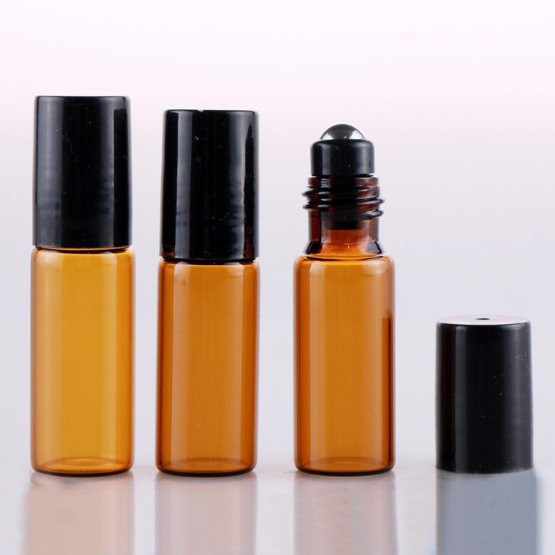 유리 / 철강 공 플라스틱 캡 리필 휴대용 병 에센셜 오일에 대한 병에 100 조각 / 로트 5ml의 롤