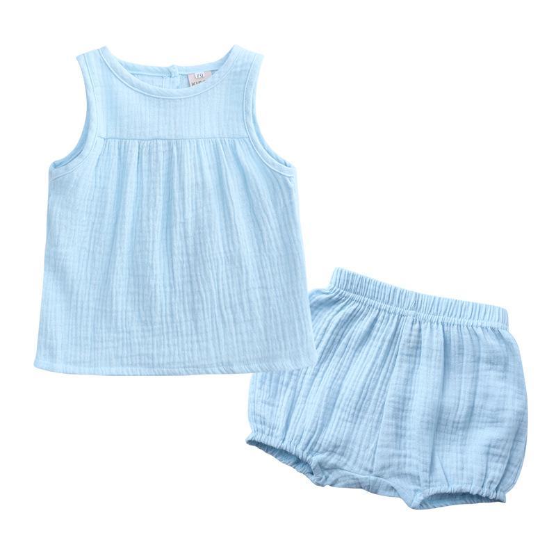 W483 여름 유아 아기 의류 세트 소년 소녀 민소매 조끼 + 반바지 키즈 목화 의류 세트 어린이 의상
