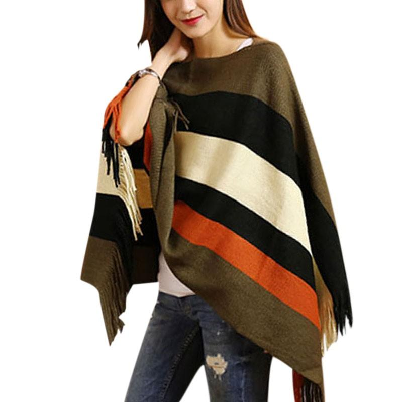New Style Batwing Tassel Cape Loose v Neck Shirt Poncho Knitwear Tops.