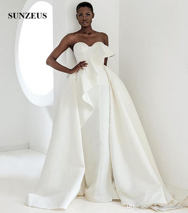 Kılıf Uzun Fildişi Gelinlik ile Ayrılabilir Etek Basit Zarif Saten Gelinlik Sweetheart Afrika Evlilik Elbise İçin Kadınlar