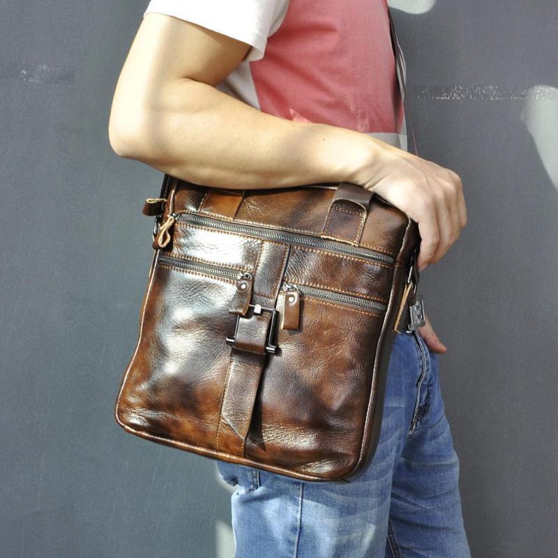 "1062 Quality Laptop Leather Coffee Men Briefcase 12 ""Messenger Business Shoulder Portfolio Bag Case Agatene Borsa verticale Tote GTVCA"