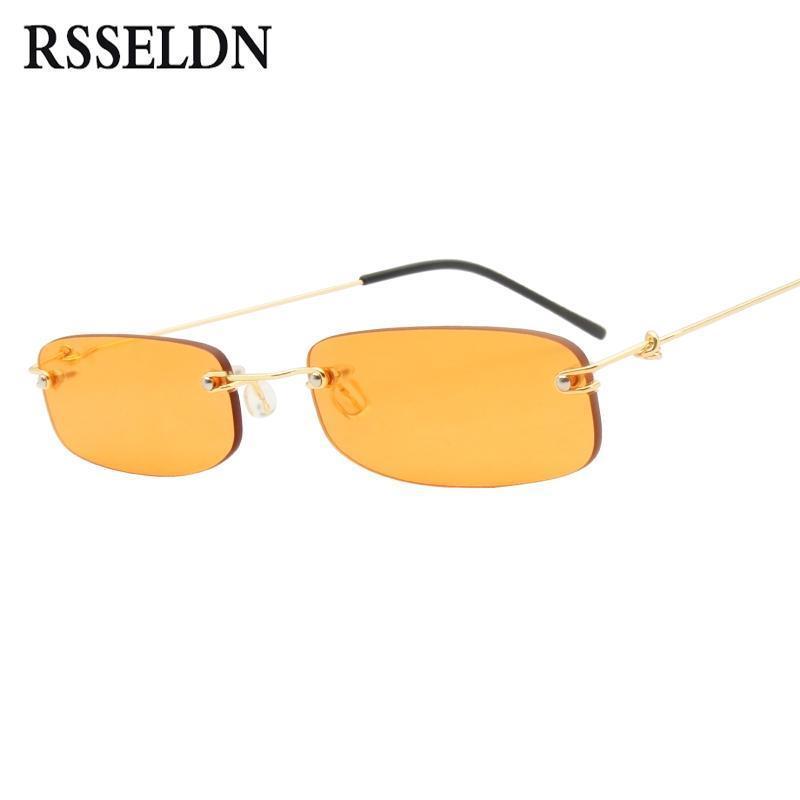 RSSELDN Малый Rimless Солнцезащитные очки Женщины Мужчины Летом 2018 года Черный Красный Розовый Малые Прямоугольные солнцезащитные очки для женщин UV400 Ретро Оттенки