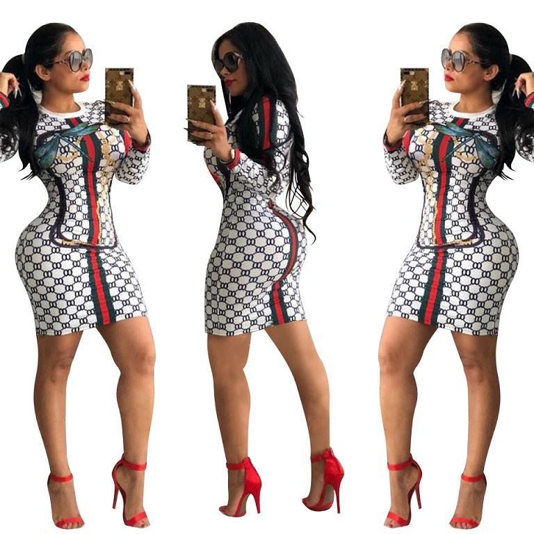 Mulheres Sexy Bodycon Vestidos 2020New Chegada mulheres Verão Impresso Casual manga comprida Vestidos da forma das mulheres gola sexy slim Vestidos