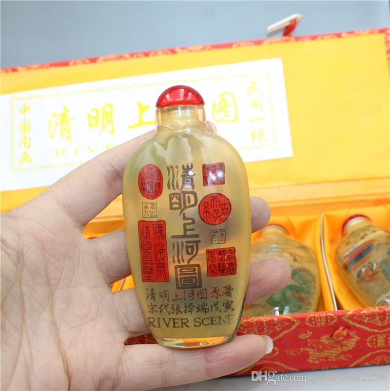 Exquisito Old Chinese Glass Hory Hory Dentro de Pintura Mano Paisaje Snuff Bottle A51