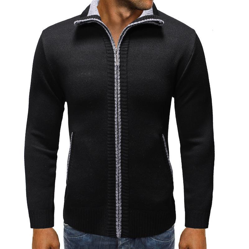 Men's Wool Cardigan Autumn Winter Warm Thick Mandarin Collar Zipper Slim Fit Long Sleeve Sweaters Knitted Cotton Casual Jackets
