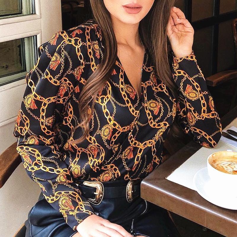 новая мода женщины пароль цепи печатные винтажные блузки рубашки женская мода улица перекрещивающийся v шеи блузки топы рубашки