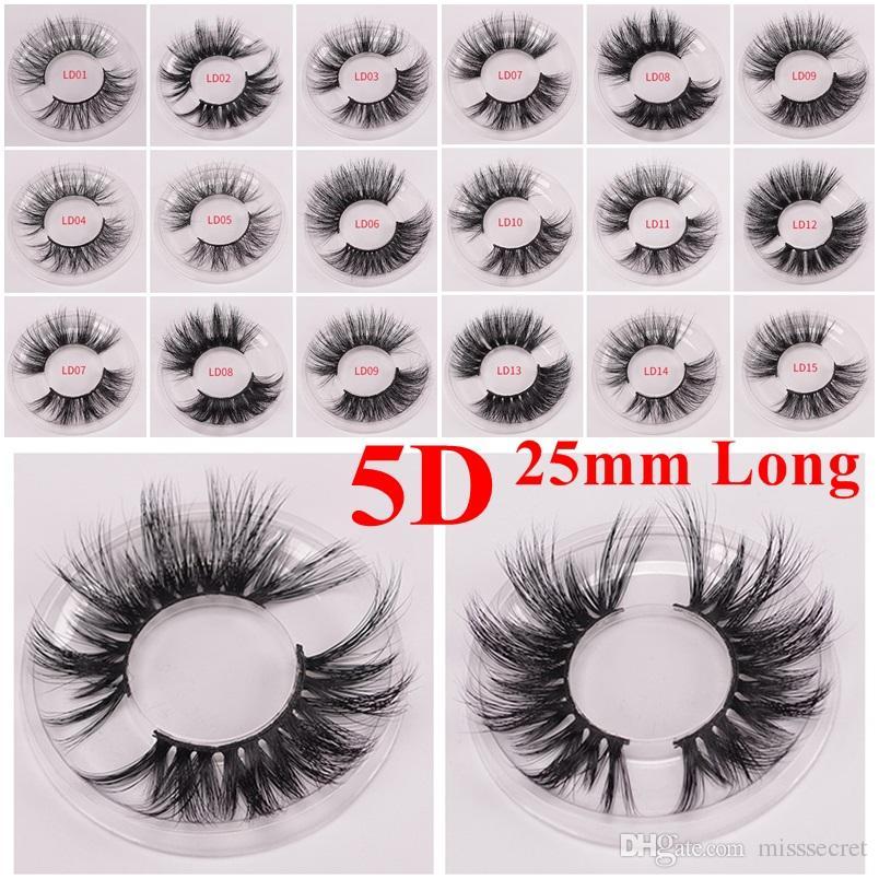Uzun Dramatik Vizon Kirpikleri 3D Vizon Kirpik 5D 25mm Uzun Kalın Vizon Kirpikleri El Yapımı Yanlış Kirpik Göz Makyaj Maquiagem LD Serisi 15 Stilleri