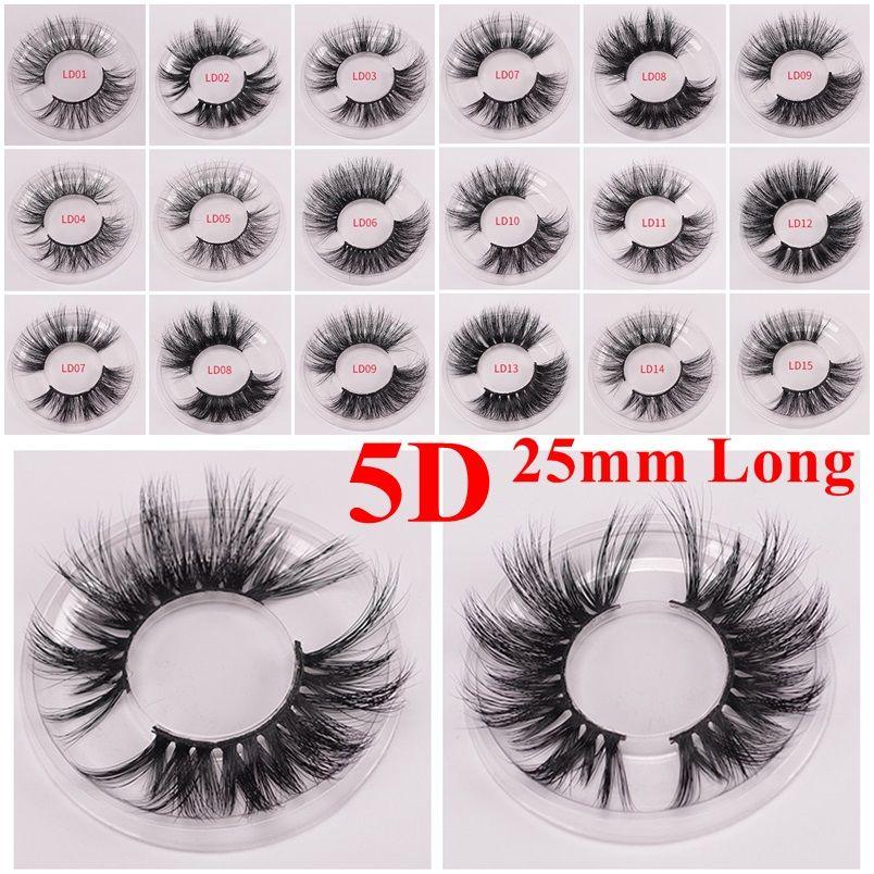 Lange dramatische Nerz Wimpern 3D Nerz Wimpern 5D 25mm lange dicke Nerz Wimpern handgefertigt falsche Wimpern Augen Make-up Maquiagem LD Serie 15 Styles