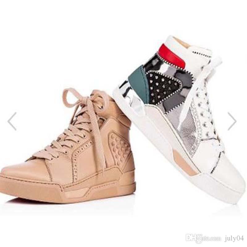 Yüksek Kaliteli Dikenler Erkekler Ayakkabı Kırmızı Alt Sneakers Loubikick Düz Gerçek Deri Spiked Ayakkabı Orta Spor Ayakkabı Düz Paten Açık Traine HH1