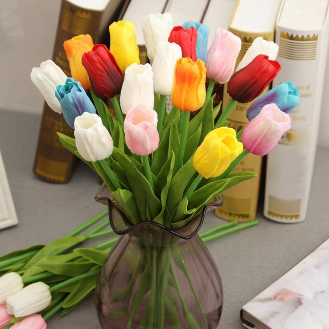 10 шт. лот PU мини Тюльпан цветок настоящее прикосновение свадебный букет цветов искусственный шелк Цветы для украшения дома партии
