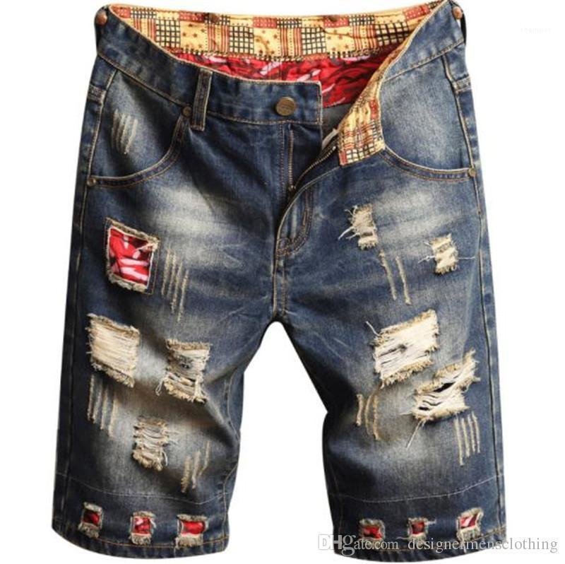 Moda de verano Slim impresión para hombre pantalones cortos agujero luz azul flaco rodilla longitud Mens Jean Shorts