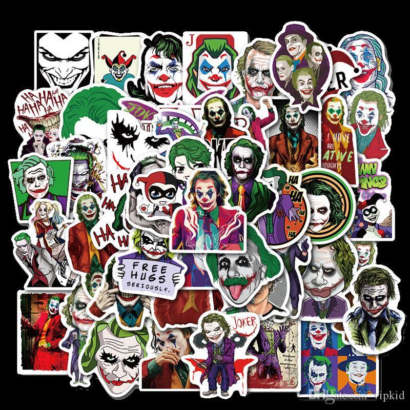 50PCS O Joker Filme Adesivos palhaço dos desenhos animados Para o Caso Estilo Laptop motocicleta Skate bagagem Decal Crianças Toy B1