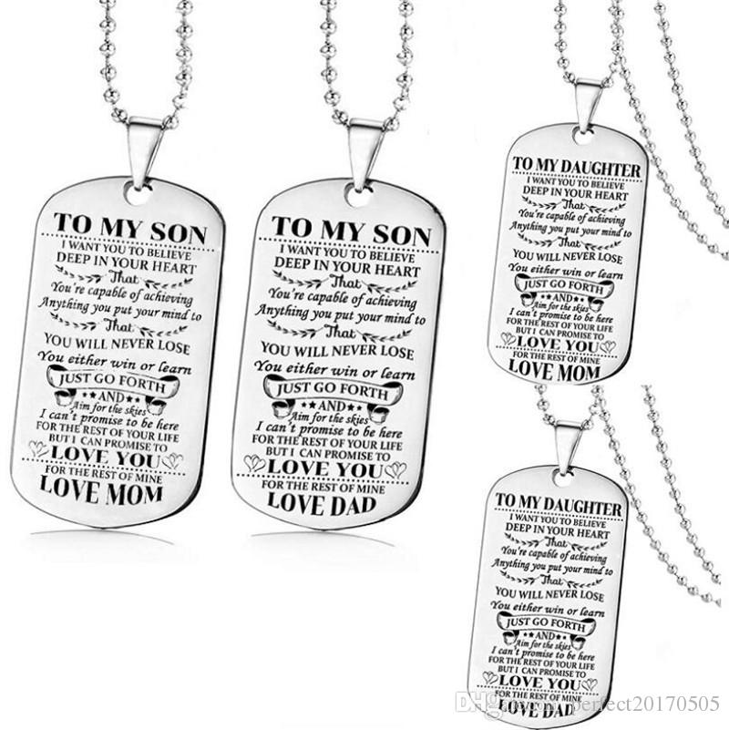 Father Son Dog Tag Link Chain Pendant Necklace Kids Love Gift Military US