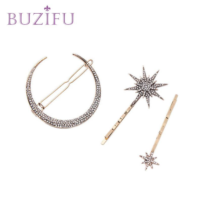 BUZIFU 3 PC/Set New Fashion Women Hairpins Girls Star Heart Hair Clip Delicate Pin Hair Decorations Jewelry Accessories UD210