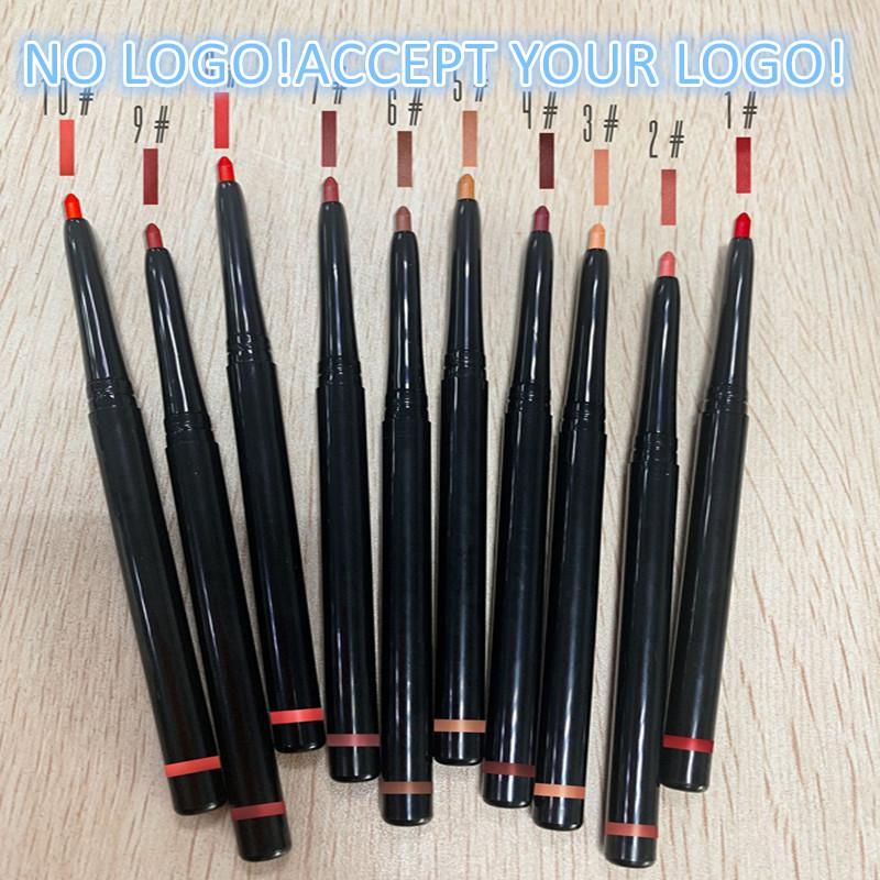 Nenhum logotipo! 10 cor lápis lápis 2in1 Pena de labial fosca impermeável Lipliner de longa duração Aceite logotipo personalizado