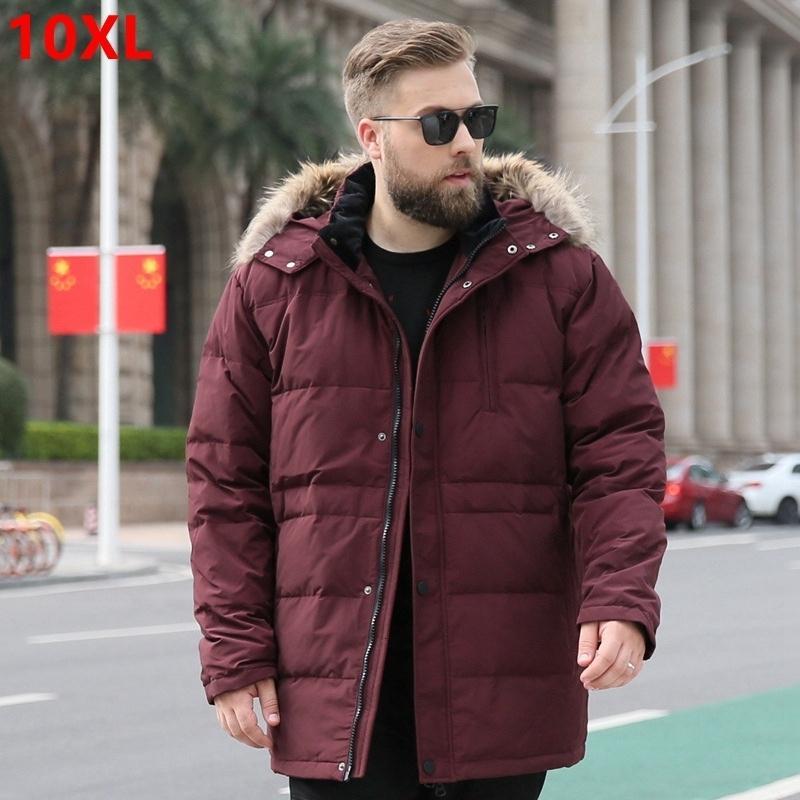 Зимние мужчины плюс удобрения XL пуховик 8XL 260 кг длинный участок негабаритный 160 кг 10XL9XL плюс размер Зимнее пальто S191019