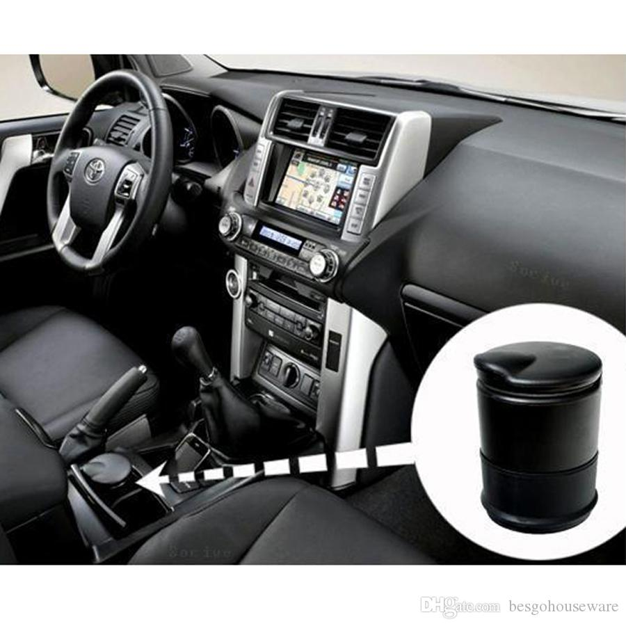 New Arrival Black Car-styling Storage Ashtrays LED Portable Car Ashtray Truck Auto Office Cigarette Ashtray Holder Box Case BH0968 TQQ
