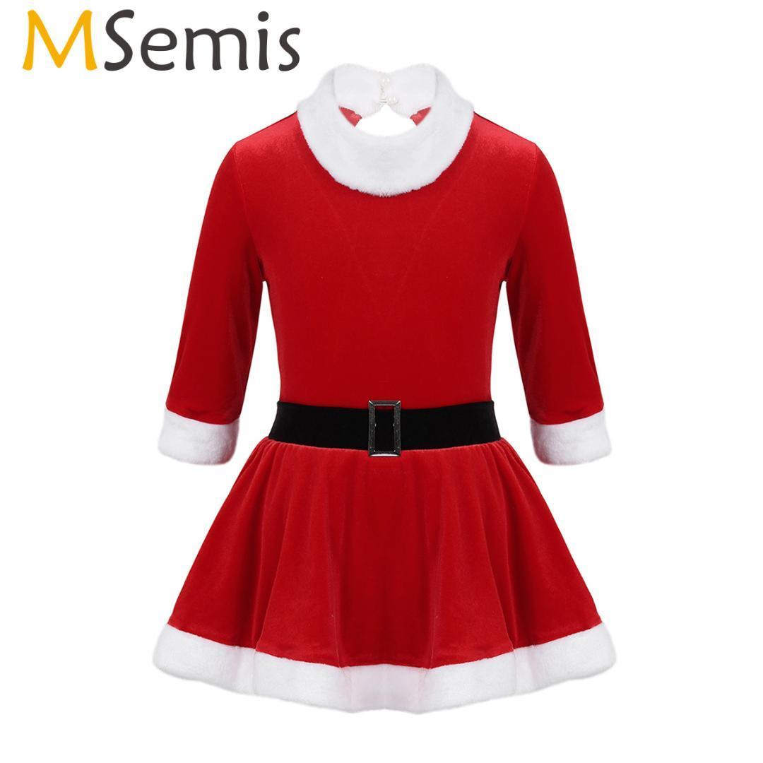 MSemis Kids Toddler Girls Christmas Clothes Figure Ice Skating Dress Long Sleeve Ballet Leotard Mrs Claus Santa Dance Costume