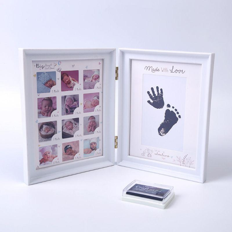 Bambino appena nato a mano a pedale Ink Pad Stampa neonati Full Moon Età Crescita Photo Frame regalo bambino regalo di compleanno dei capretti