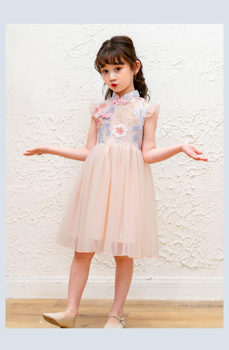 niña bordado cheongsam del vestido floral de los vestidos infantiles Qipao chinos durante 4 - 14 años adolescentes niñas ropa de verano vestido de encaje