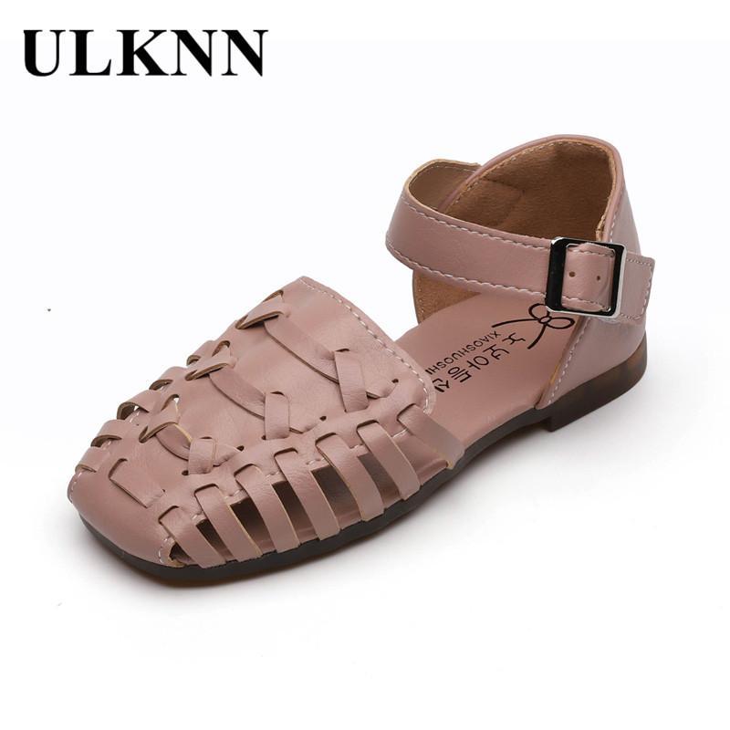 ULKNN ДЕТСКИЕ Сандалии 2020 весной и летом новый стиль конфеты цветные Насосные Девушки Hollow из обувь Рим Тканые обувь
