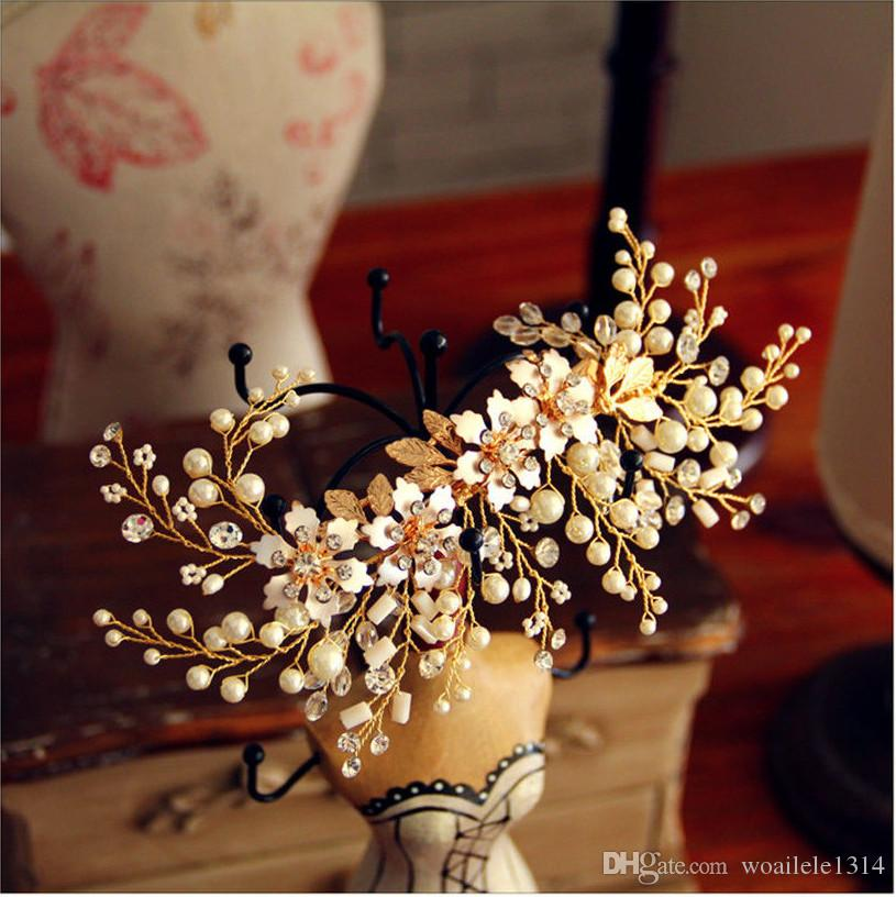 Bridal Wedding Bride Rhinestone Crystal Pearls Gold Tiaras Headpiece Hair Accessories Hairpins Hair Clip Prom Birthday Gift Handmade Jewelry
