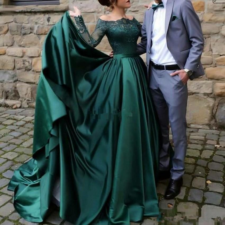Dark Green Abendkleider mit langen Ärmeln Abendkleid SpitzeApplique Weinlese plus Größe lange formales Partei-Kleider Saudi-Arabien Vestido de fiesta