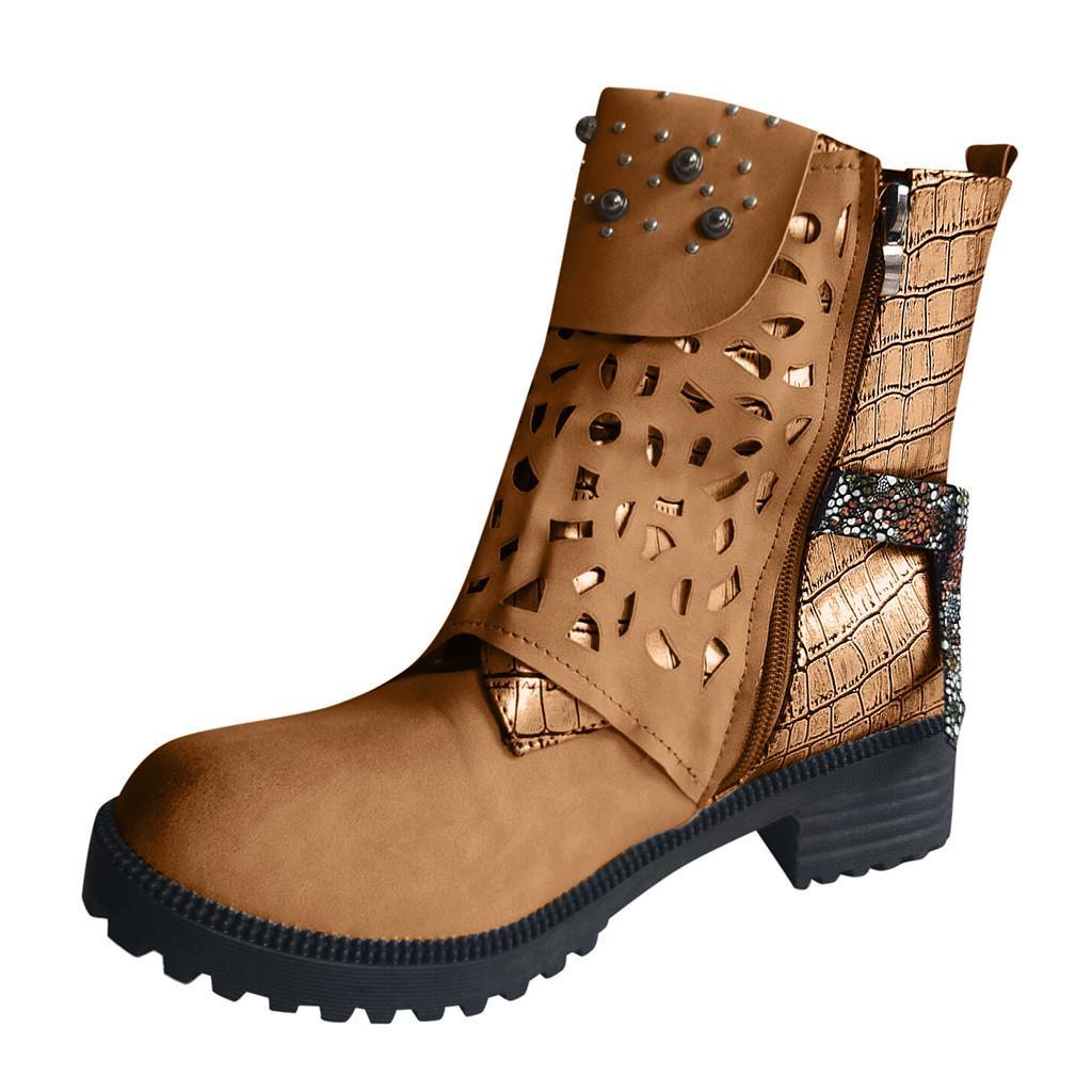 SAGACE Taille 35-43 talon carré Shallow Bottes femme Chaussures fourrure Automne Hiver Fashion Zip Pointu Toe PU Bottes femme Chaussures chaud 2 septembre