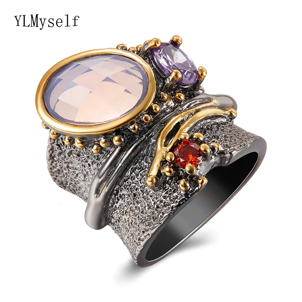 Long time no change color Big Cool Rack Ring Gun Black Punk Jewellery Oval Stone Top Jewelry Large Wide Irrecgular rings