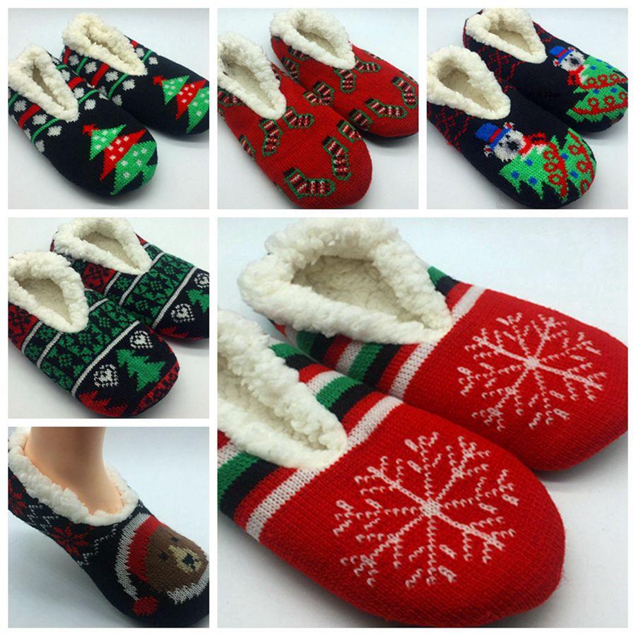 여자 크리스마스 클래식 아플리케 슬리퍼 양말 레이디 슬리퍼 양말 집 슬리퍼 양말 아늑한 슬리퍼 RRA2026